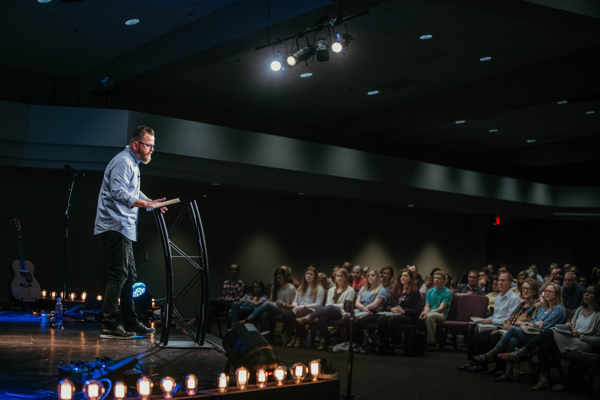 Senior Pastor Jason Craft preaches at Messiah's House in Amarillo, Texas